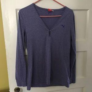 Puma Long Sleeve Exercise Shirt Purple LARGE